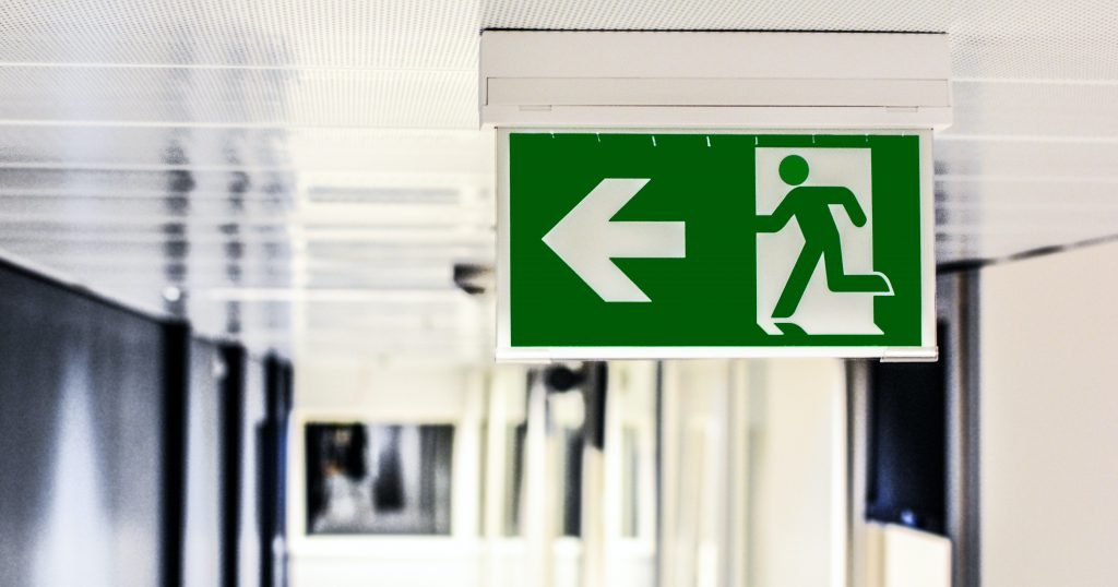 A fire exit sign