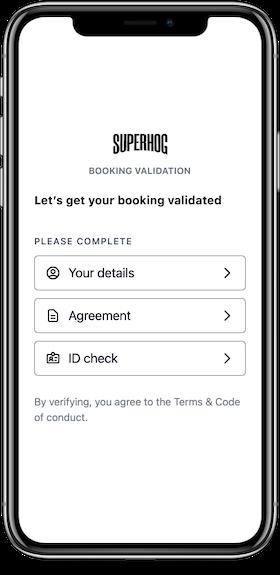 SUPERHOG guest validation screen on mobile