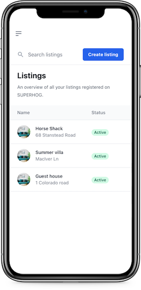 The listings screen on the hosts SUPERHOG dashboard