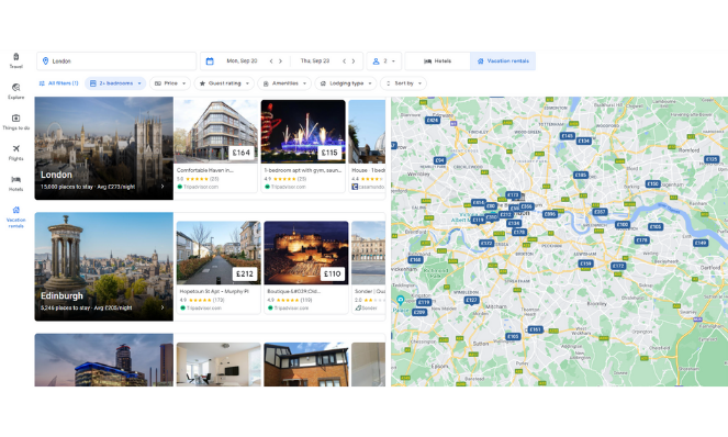 Google vacation rentals London search results