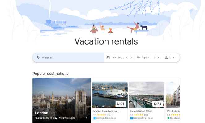 The Google vacation rentals homepage