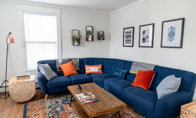 Blue sofa in a vacation rental for remote workers